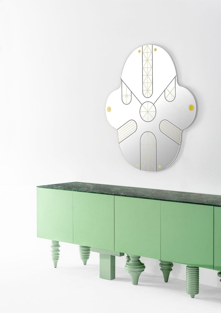 Spanish Showtime Cabinet in Green Patrizia Marble For Sale