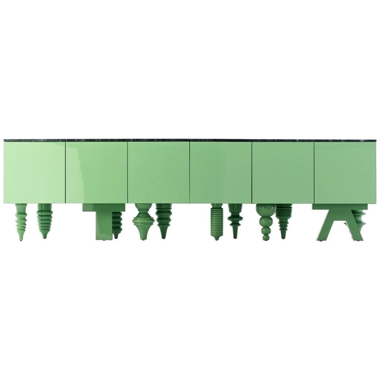 Showtime Cabinet in Green Patrizia Marble For Sale