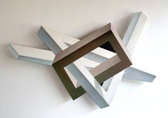 Elements (beige and white) abstract geometric wall sculpture painting