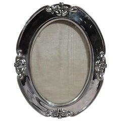 Shreve American Art Nouveau Sterling Silver Oval Picture Frame