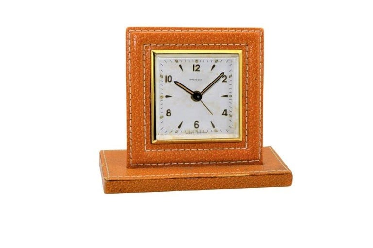 Art Deco Shreve & Co. Small Leather Bedside Alarm Clock, 1930s For Sale