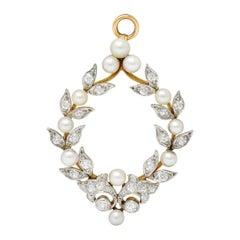Shreve & Co. 1.00 Carat Diamond Pearl Platinum 18 Karat Gold Wreath Pendant