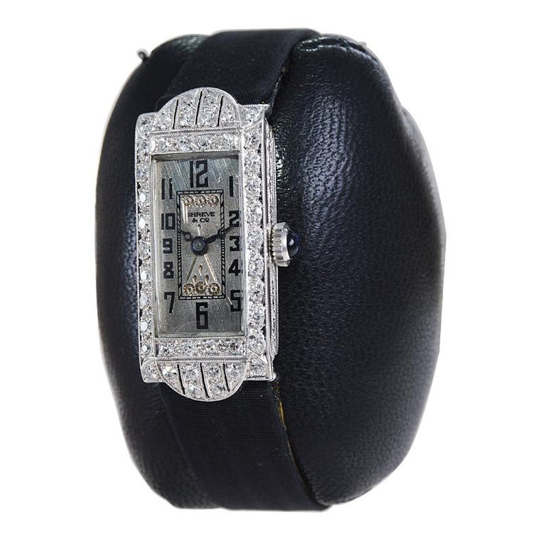 Shreve & Co. Art Deco Platinum and Diamond Ladies Watch from 1930's In Excellent Condition For Sale In Long Beach, CA