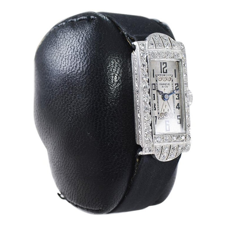 Shreve & Co. Art Deco Platinum and Diamond Ladies Watch from 1930's For Sale 2