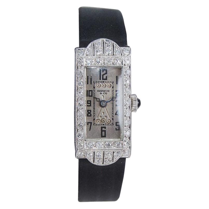 Shreve & Co. Art Deco Platinum and Diamond Ladies Watch from 1930's
