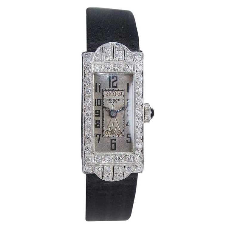 Shreve & Co. Art Deco Platinum and Diamond Ladies Watch from 1930's For Sale