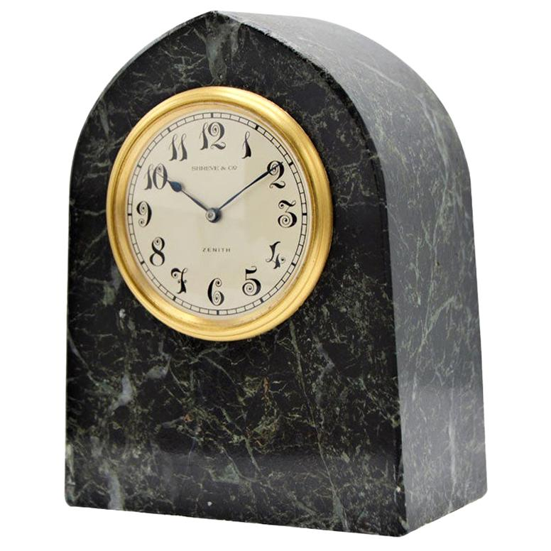 Shreve & Co. Art Deco Stone Clock by Zenith, circa 1930s