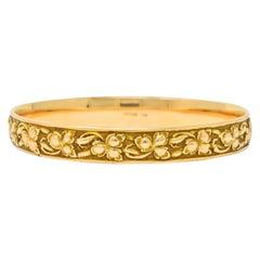 Shreve & Co. Art Nouveau 14 Karat Gold Ivy Foliate Bangle Bracelet