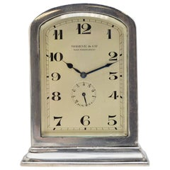 Shreve & Co. by Longines Sterling Silver Art Deco / Gothic Desk Clock, 1920s