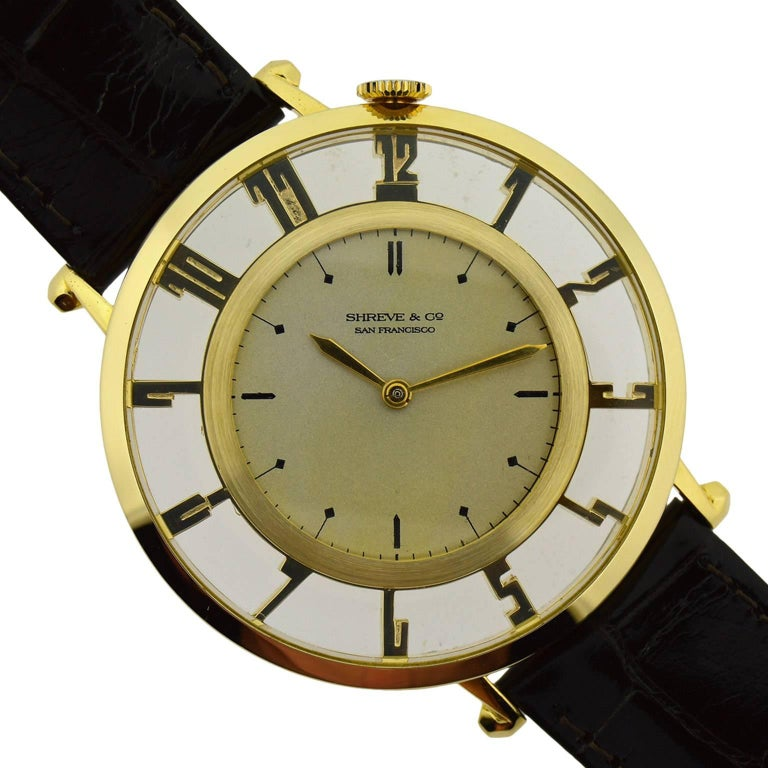 Waltham for Shreve & Co. Yellow Gold Art Deco Pocket Wristwatch from 1935 In Excellent Condition For Sale In Long Beach, CA