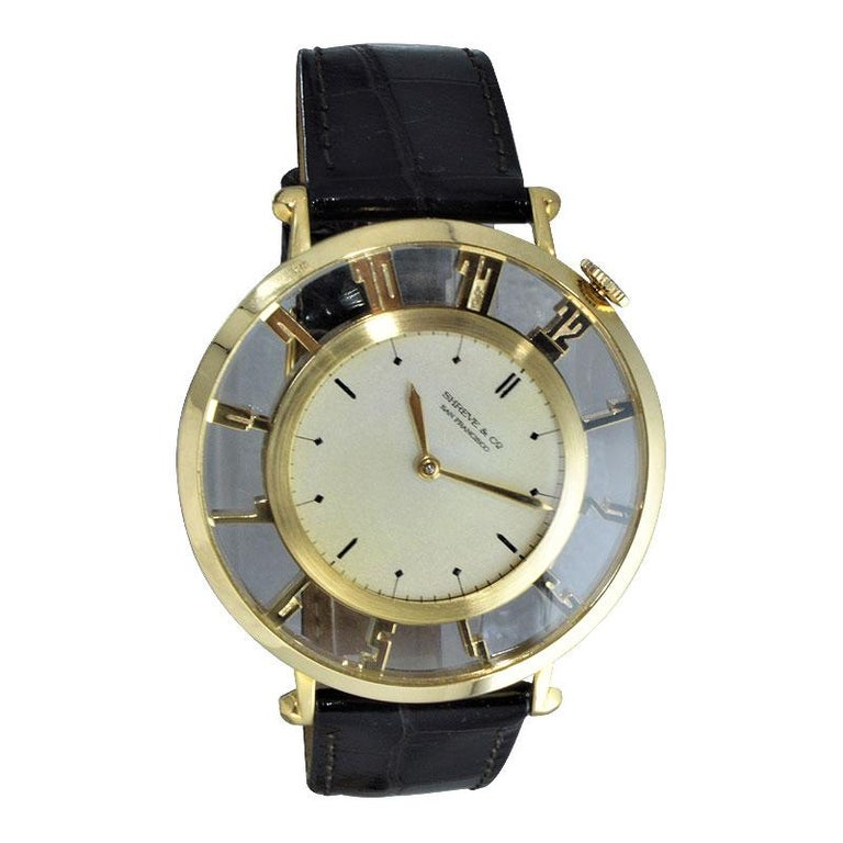 Waltham for Shreve & Co. Yellow Gold Art Deco Pocket Wristwatch from 1935 For Sale 4