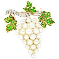 Shreve & Co Demantoid Garnet Diamond Pearl Grape Cluster Brooch Pendant