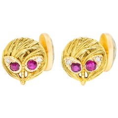 Shreve & Co. Gold-In-Quartz Ruby Diamond 14 Karat Gold Wheat Cufflinks