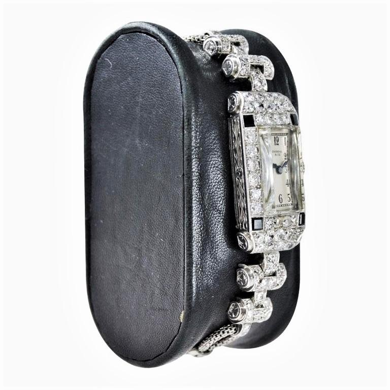 FACTORY / HOUSE: Shreve and Company / San Francisco STYLE / REFERENCE: Art Deco / Dress Style METAL / MATERIAL: Platinum and Diamond DIMENSIONS:  68mm  X  16mm CIRCA: 1930's MOVEMENT / CALIBER: Longines / 15 Jewels / Manual Winding DIAL / HANDS: