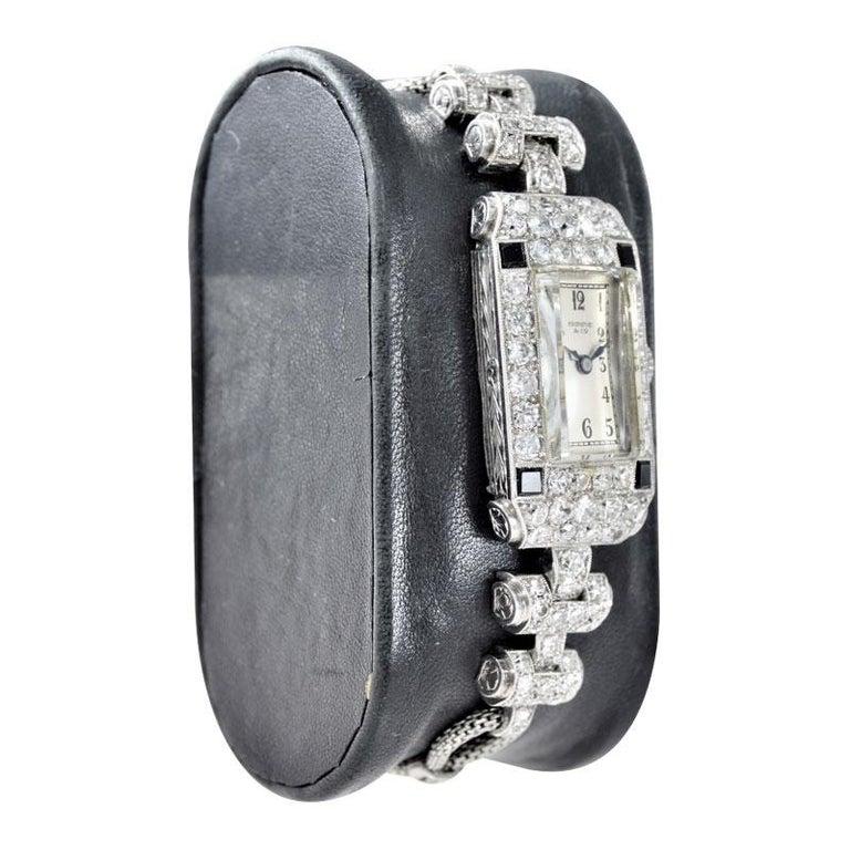 Art Deco Shreve & Co. Ladies Platinum Diamond Bracelet Watch from 1930s For Sale