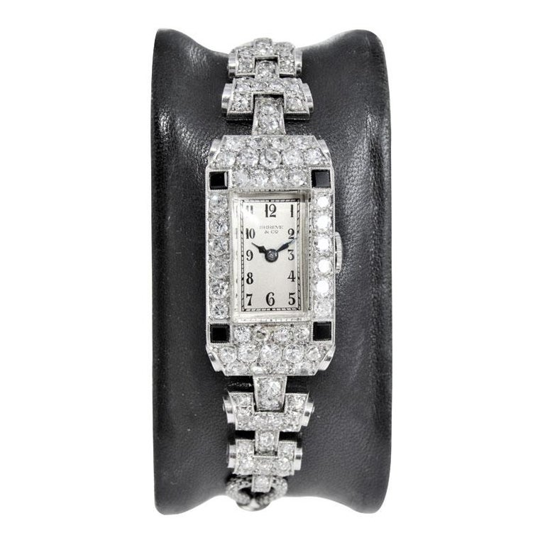 Shreve & Co. Ladies Platinum Diamond Bracelet Watch from 1930s In Excellent Condition For Sale In Long Beach, CA