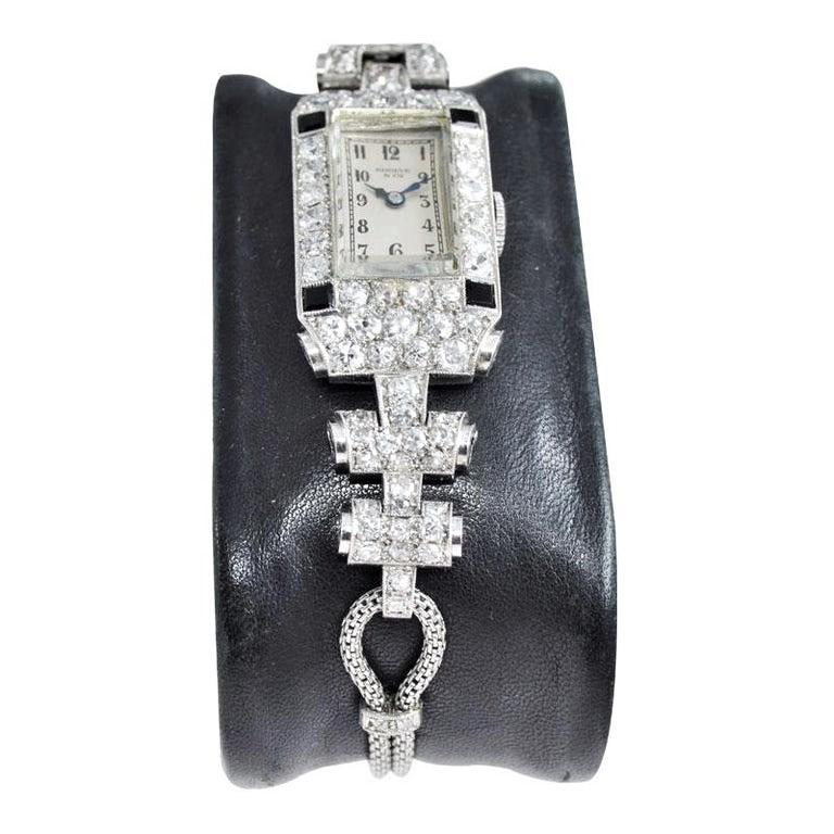 Women's Shreve & Co. Ladies Platinum Diamond Bracelet Watch from 1930s For Sale