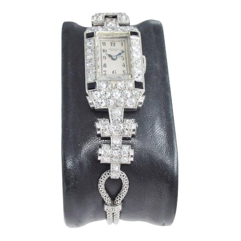 Shreve & Co. Ladies Platinum Diamond Bracelet Watch from 1930s For Sale 1