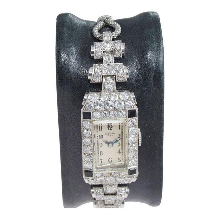 Shreve & Co. Ladies Platinum Diamond Bracelet Watch from 1930s For Sale 2