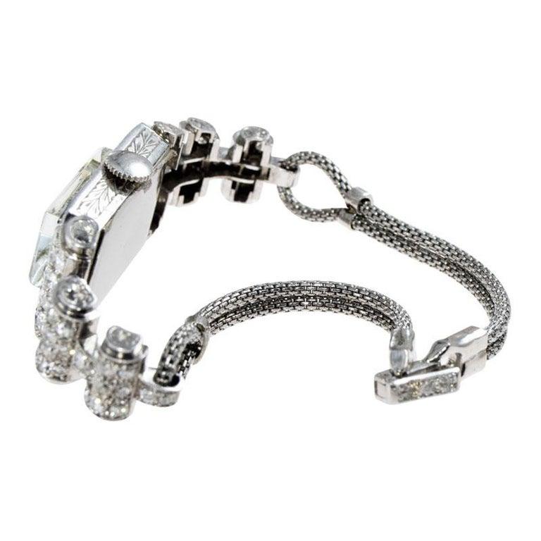 Shreve & Co. Ladies Platinum Diamond Bracelet Watch from 1930s For Sale 4