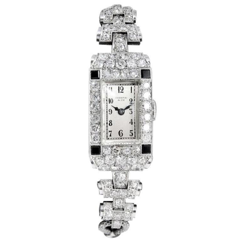 Shreve & Co. Ladies Platinum Diamond Bracelet Watch from 1930s For Sale