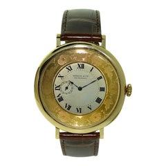 Shreve & Co. Übergroße Taschen-Armbanduhr mit Graviertem Ziffernring, ca. 1920