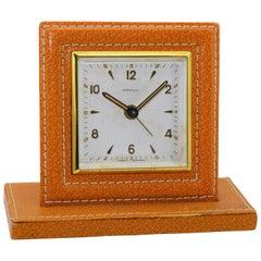 Shreve & Co. Small Leather Bedside Alarm Clock, 1930s