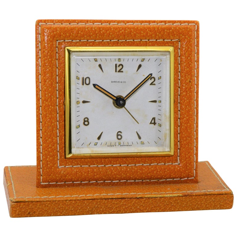 Shreve & Co. Small Leather Bedside Alarm Clock, 1930s For Sale