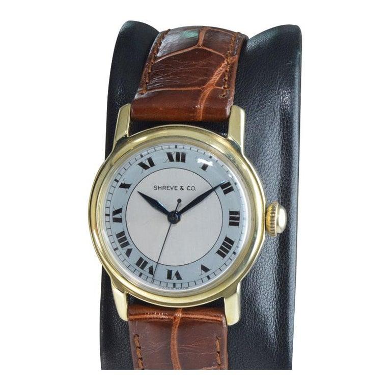 Art Deco Shreve & Co. Yellow Gold Angelus Screw Back Manual Watch, circa 1950s