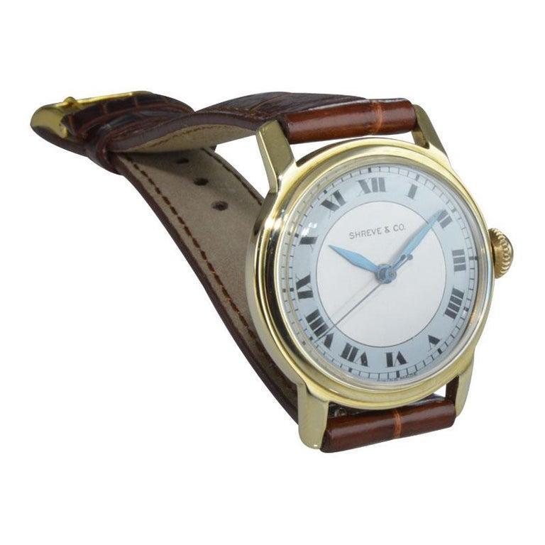 Women's or Men's Shreve & Co. Yellow Gold Angelus Screw Back Manual Watch, circa 1950s