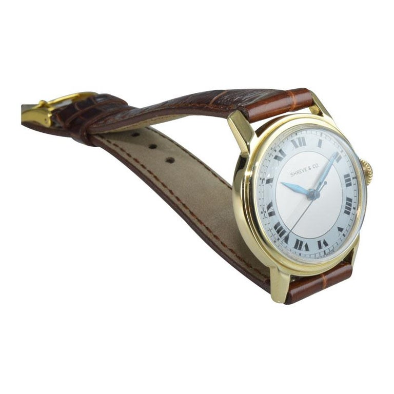 Shreve & Co. Yellow Gold Angelus Screw Back Manual Watch, circa 1950s 1