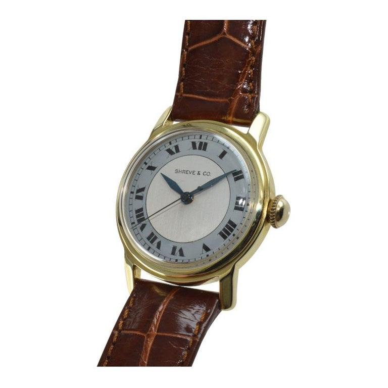 Shreve & Co. Yellow Gold Angelus Screw Back Manual Watch, circa 1950s 2