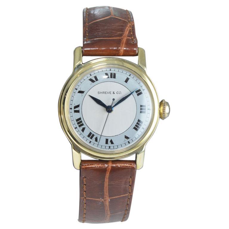 Shreve & Co. Yellow Gold Angelus Screw Back Manual Watch, circa 1950s