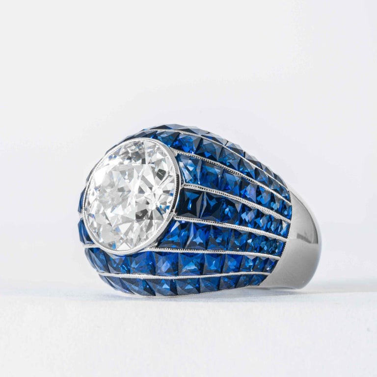Art Deco Shreve, Crump and Low GIA Certified 5.03 Old European Cut Diamond Bombe Ring For Sale