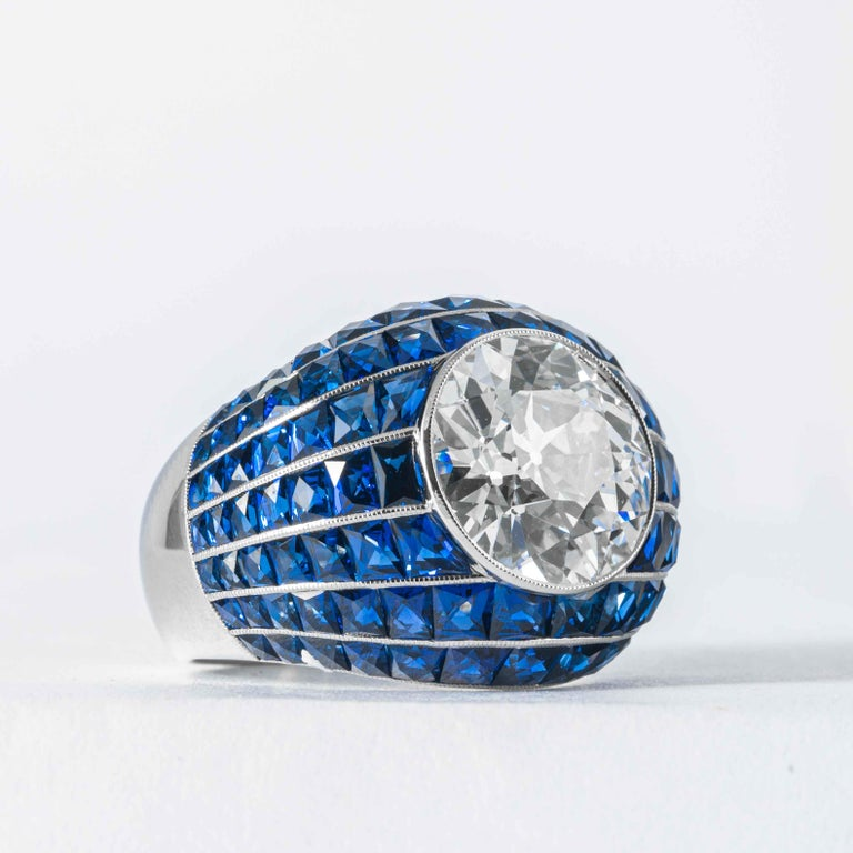 Shreve, Crump and Low GIA Certified 5.03 Old European Cut Diamond Bombe Ring In New Condition For Sale In Boston, MA