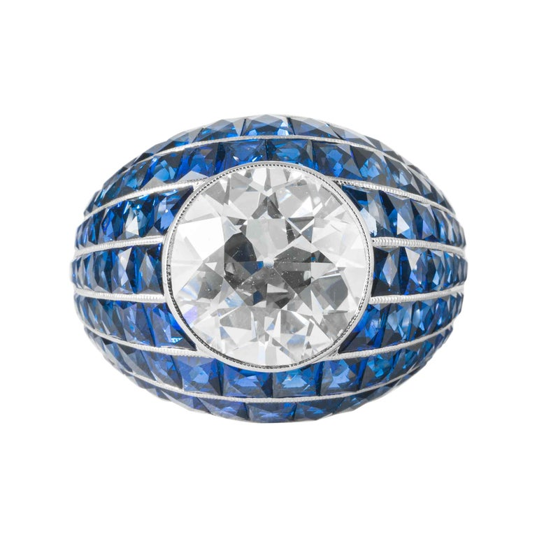 Shreve, Crump and Low GIA Certified 5.03 Old European Cut Diamond Bombe Ring For Sale
