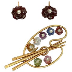 Shreve Crump and Low Painter's Palette 14 Karat Gold Brooch and Earring Set