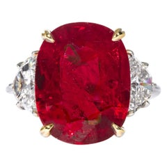 """Shreve, Crump & Low 10.24 Carat """"Royal Red"""" Ruby and Diamond 3-Stone Ring"""