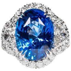 Shreve, Crump & Low 12.38 Carat Blue Sapphire Sapphire and Diamond Platinum Ring