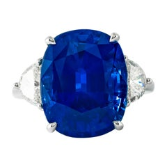 Shreve, Crump & Low 13.02 Carat Blue Sapphire Sapphire and Diamond Platinum Ring