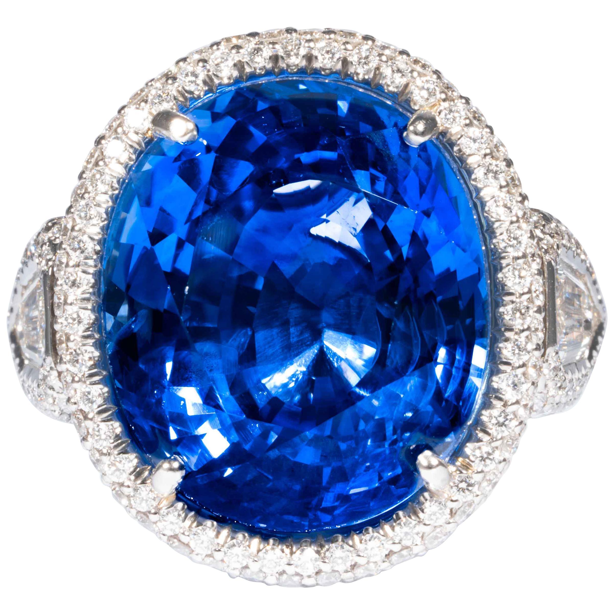 Shreve, Crump & Low 20.86 Carat Blue Sapphire Sapphire and Diamond Platinum Ring
