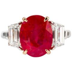 Shreve, Crump & Low 5.25 Carat Oval Burma Ruby and Diamond 3-Stone Platinum Ring