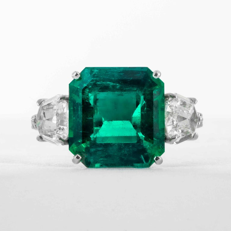 This emerald ring is offered by Shreve, Crump & Low. This green emerald cut emerald is custom set in a handcrafted Shreve, Crump & Low one-of-kind platinum ring, consisting of 1 Colombian green emerald cut emerald weighing 5.48 carats.  This 5.48