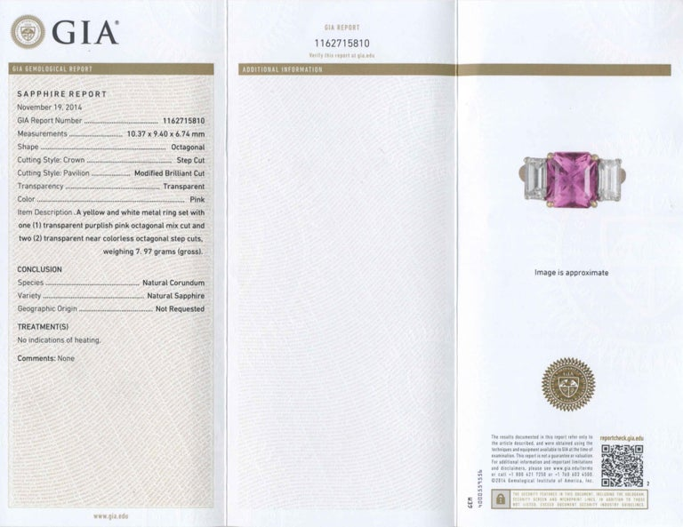 Shreve, Crump & Low 6.13 Carat GIA Certified Pink Sapphire and Diamond Ring For Sale 5