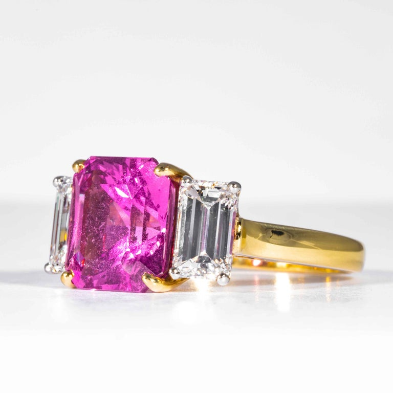 Radiant Cut Shreve, Crump & Low 6.13 Carat GIA Certified Pink Sapphire and Diamond Ring For Sale