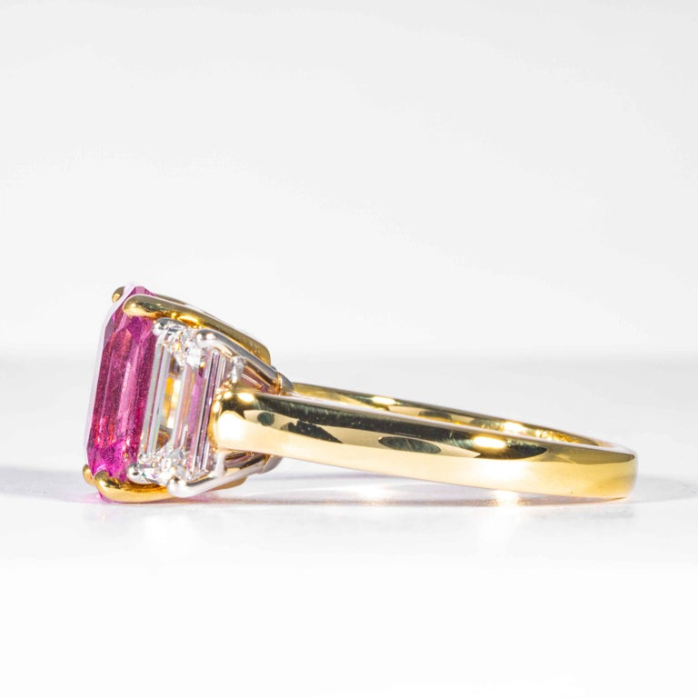 Shreve, Crump & Low 6.13 Carat GIA Certified Pink Sapphire and Diamond Ring In New Condition For Sale In Boston, MA