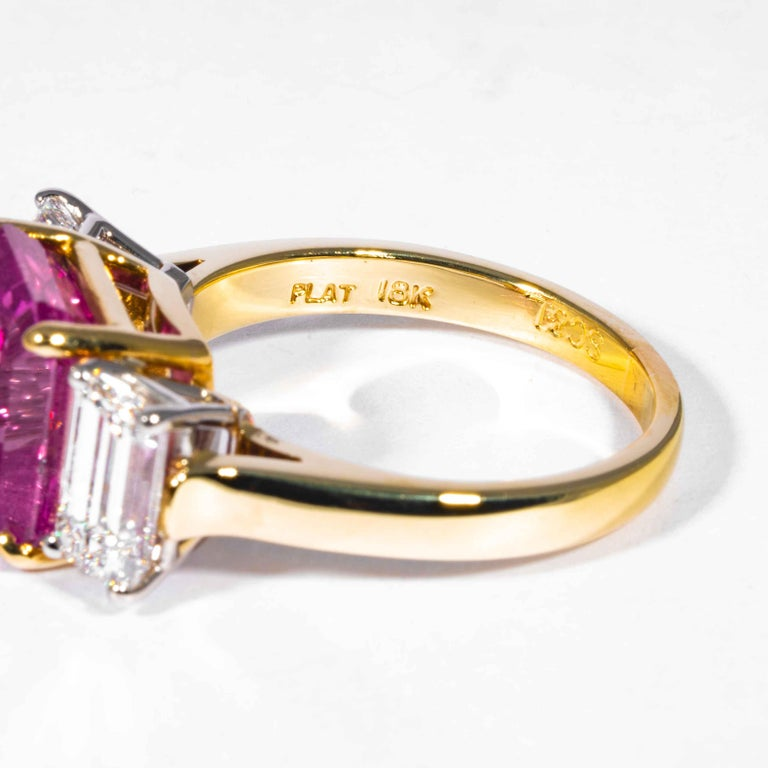 Women's Shreve, Crump & Low 6.13 Carat GIA Certified Pink Sapphire and Diamond Ring For Sale