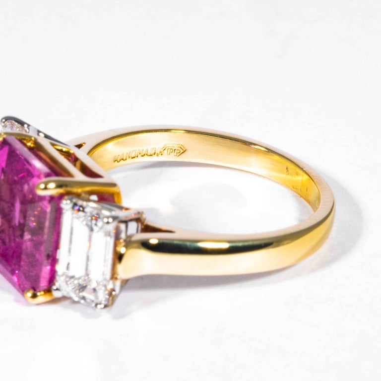 Shreve, Crump & Low 6.13 Carat GIA Certified Pink Sapphire and Diamond Ring For Sale 1