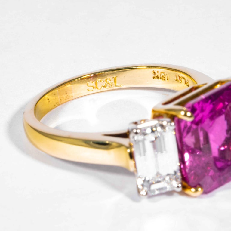 Shreve, Crump & Low 6.13 Carat GIA Certified Pink Sapphire and Diamond Ring For Sale 2