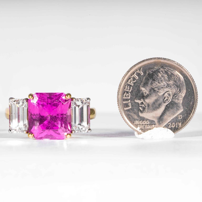 Shreve, Crump & Low 6.13 Carat GIA Certified Pink Sapphire and Diamond Ring For Sale 4